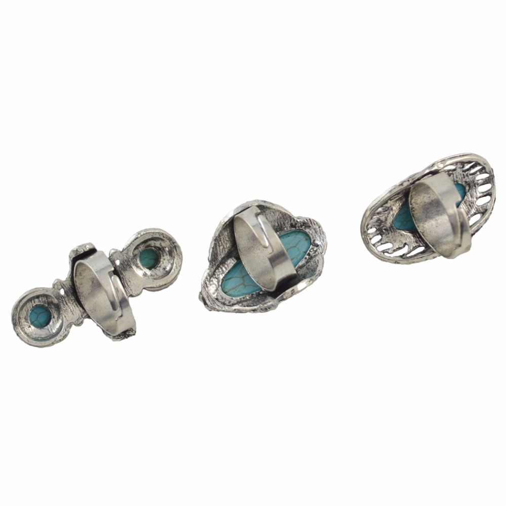 Bague en pierre verte opale en métal argenté Vintage Tibet Boho réglable pour les femmes