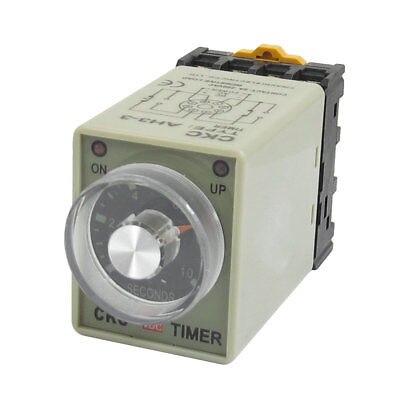 AH3-3   DC24V/DC12V/AC110V/AC220V  0-10 Sec 10s Timer Power ON Delay Time Relay w Base Socket knob control dc24v dc12v ac110v ac220v 8p dpdt 5s seconds timer time delay relay w socket h3y 2