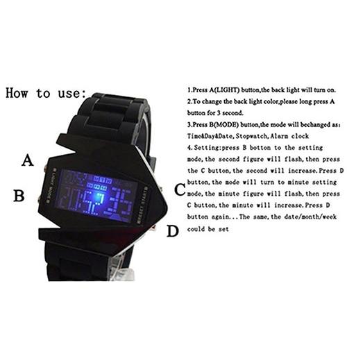 Cool Men's Oversized Design Light Digital Sports Plan Shaped Dial Electronics Wrist Watch Relojes 17