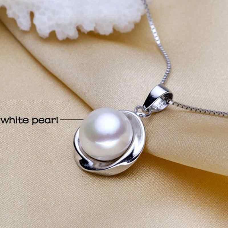 Prawdziwe perły wisiorki 925 Sterling Silver Pearl słodkowodne wisiorek dla kobiet, biały wisior z naturalną perłą naszyjnik prezent urodzinowy