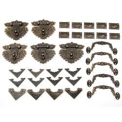 60pcs Drawer Jewellery Wood Box Cabinet Door Hasp Lock Hook Latch Butt Hinges Handle Decorative corners furniture accessories
