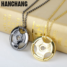 Weight Plate Barbell Dumbbell Necklace For Men Car Steering Wheel Pendant Weightlifting Bodybuilding Fitness Gym Necklace