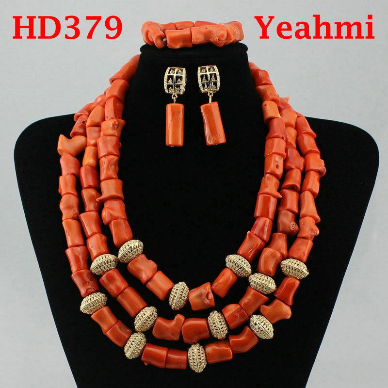 Fantastic Wedding Coral Beads Bridal Jewelry Set Big Design Jewellery Set African Nigerian Beads Necklace Set Free Ship HD379
