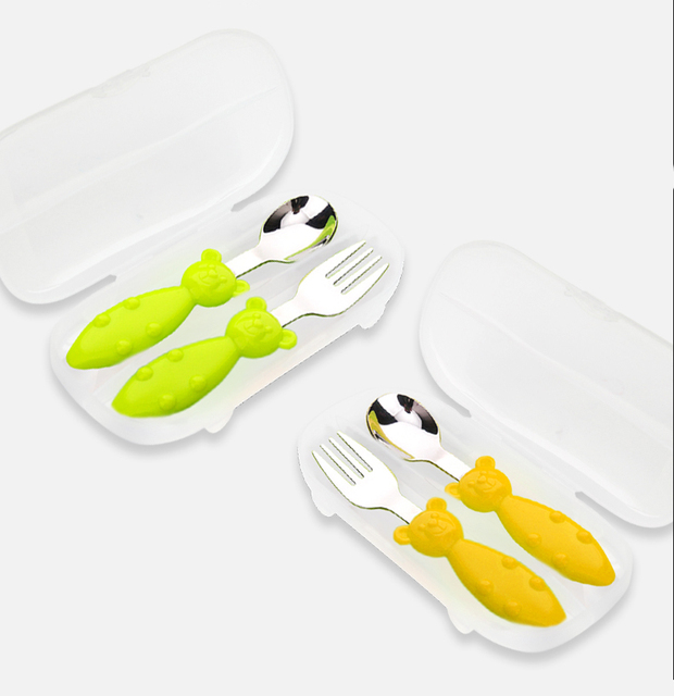 Baby Spoon Fork Set Feeding Kids Stainless Steel Flatware Cartoon Tableware Utensils Set Infant Cutlery Set