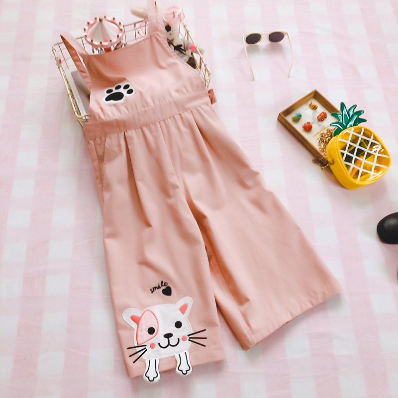 Japanese Mori Girl Cute Cat Jumpsuits Korean Fashion Kawaii Embroidery Pink Overalls Harajuku Casual Teen Rompers   Wide     Leg     Pants