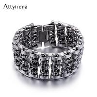 ATTYIRENA Solid Stainless Steel 35MM Wide Heavy Men's Skeleton Skull Bracelet Punk Rocker Ghost Bangle Biker Jewelry Bracelets