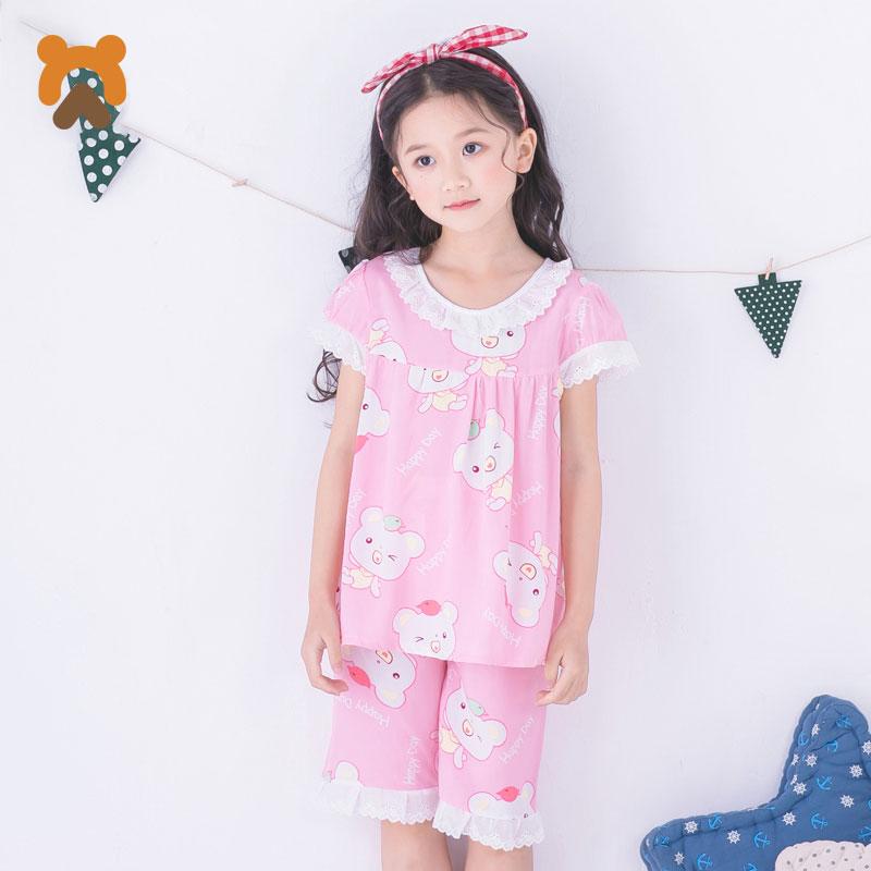 Summer Girls Pajamas Sets Kids Cartoon Lace Short ...
