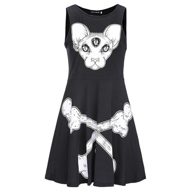 2018 New Fashion Gothic Black High Street Cool Women Dresses Aline Pullover 3D Animal Skull Print Girls Casual Female Dress