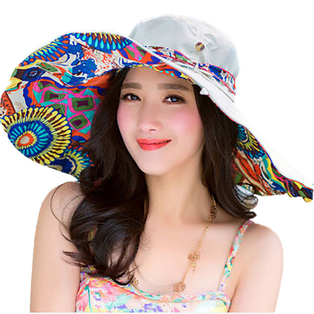 New Fashion Bohemian Style Flower Foldable Brimmed Sun Hat For Women Hat  Large Visors UV Protection Beach Hat Brand Sun Cap 35de66270b35