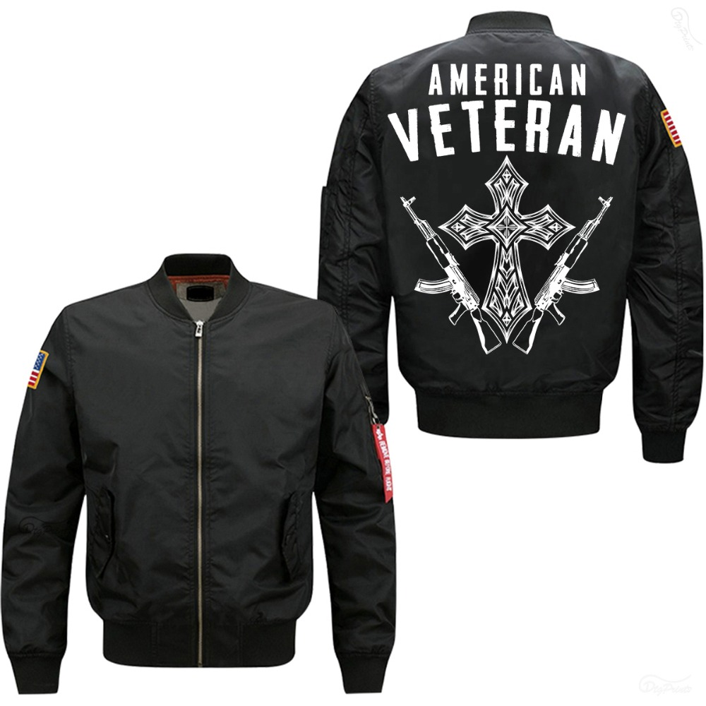 2019 hot spring autumn bomber jacket American Veteran print mans flight jacket USA size  free shipping