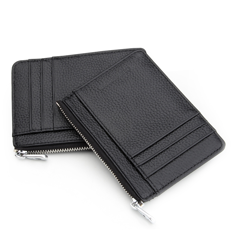 7d9c08ded9c Oufankadi Men Women s Card Holder Genuine Leather Cute Zipper Card Wallet  Small Purse for Men Card Purses-in Card   ID Holders from Luggage   Bags on  ...