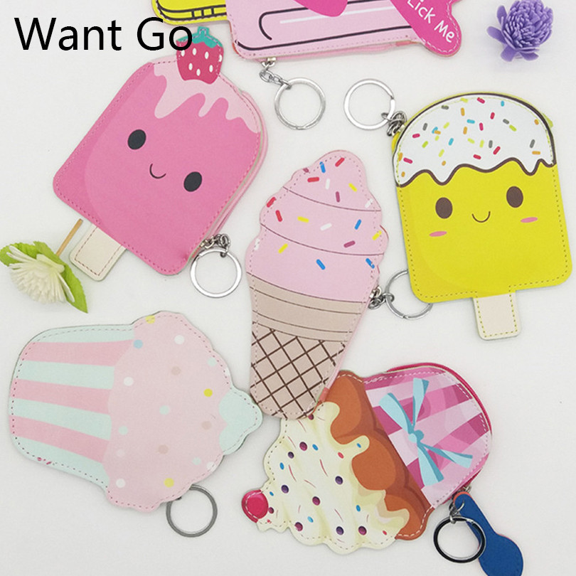 Want Go England Style Women Mini Cartoon Coin Purse Wallet Waterproof Lady Small Pu Leather Purses Mini Zipper Key Storage Bags
