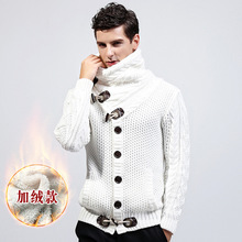 2017 Winter casual Thickening fleece turtleneck Sweater Men Knitting Loose sweatCoat Cardigan masculino Male pull