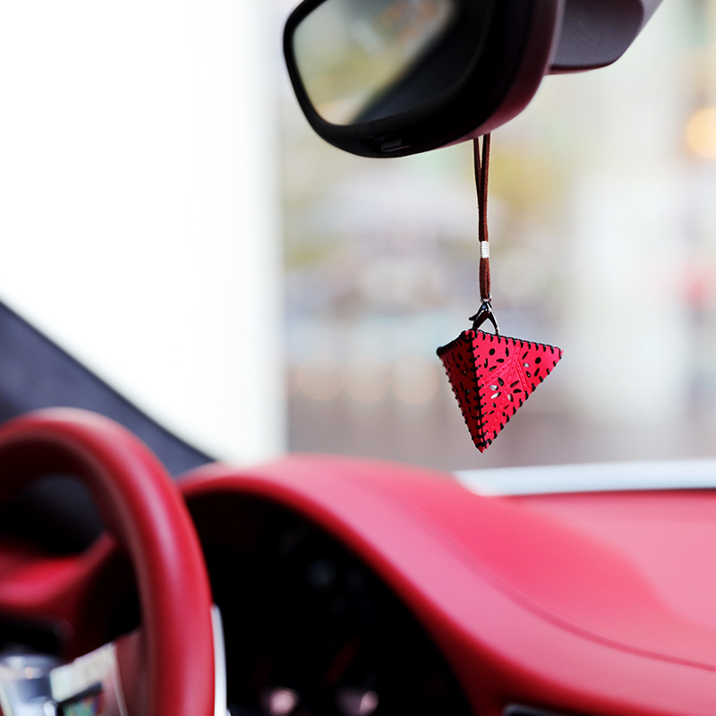 Bling car accessories plastic fiber triangle cone yellow red