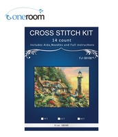 3th FJ 30108 Tower Beside Village Needlework 14CT Counted Cross Stitch Kits For Embroidery Canvas Patterns