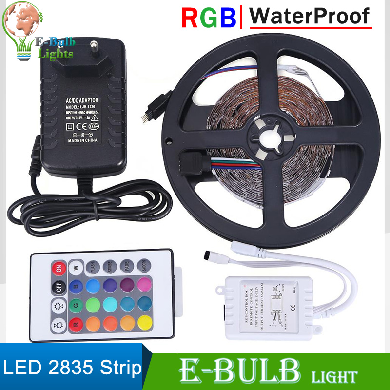 1 set rgb led strip waterproof 5m 300leds smd2835 flexible light led tape band dc12v ir remote. Black Bedroom Furniture Sets. Home Design Ideas