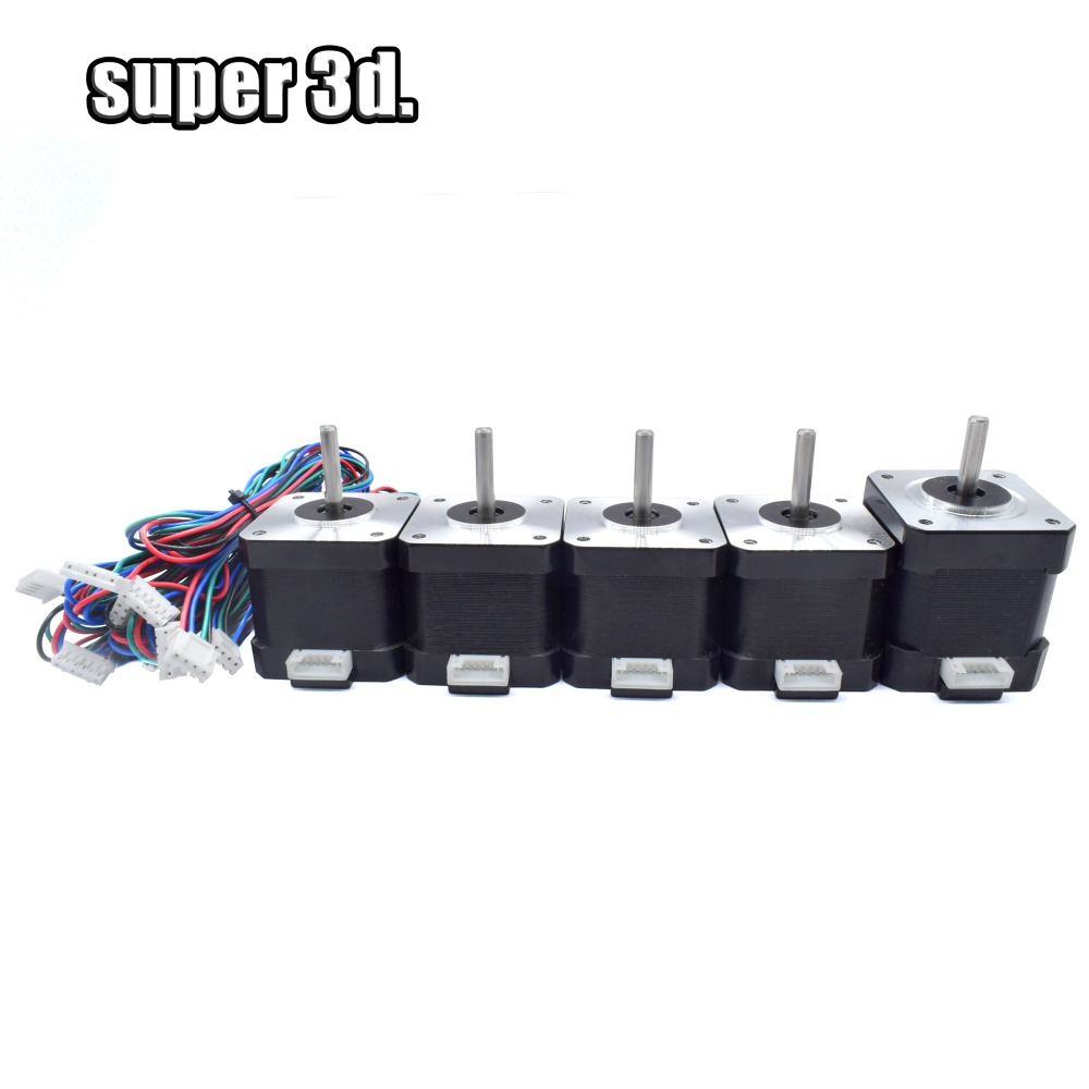 5pcs /Set Nema 17 42 Stepper Motors (1pc 48mm Height 1.5A +4pcs 40mm Height 1.5A ) 4-lead For DIY Prusa 3D Printer Parts CNC XYZ