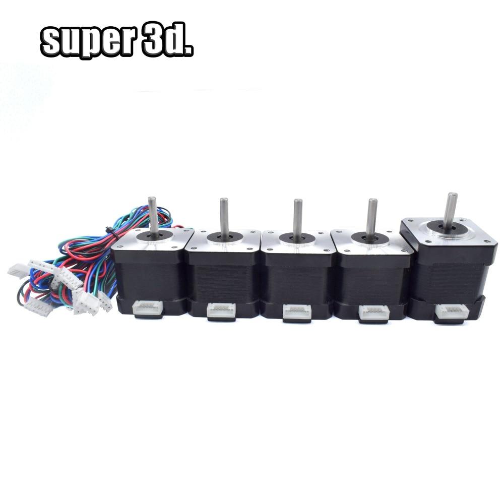 5pcs /Set Nema 17 42 Stepper Motors (1pc 48mm Height 1.5A +4pcs 40mm Height 1.5A ) 4-lead For DIY Prusa 3D Printer Parts CNC XYZ