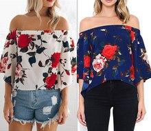 Women Blouses Off shoulder Tops Femme Summer Chiffon floral Blouse Back Split Cool Shirts Kimono Blusas Feminina