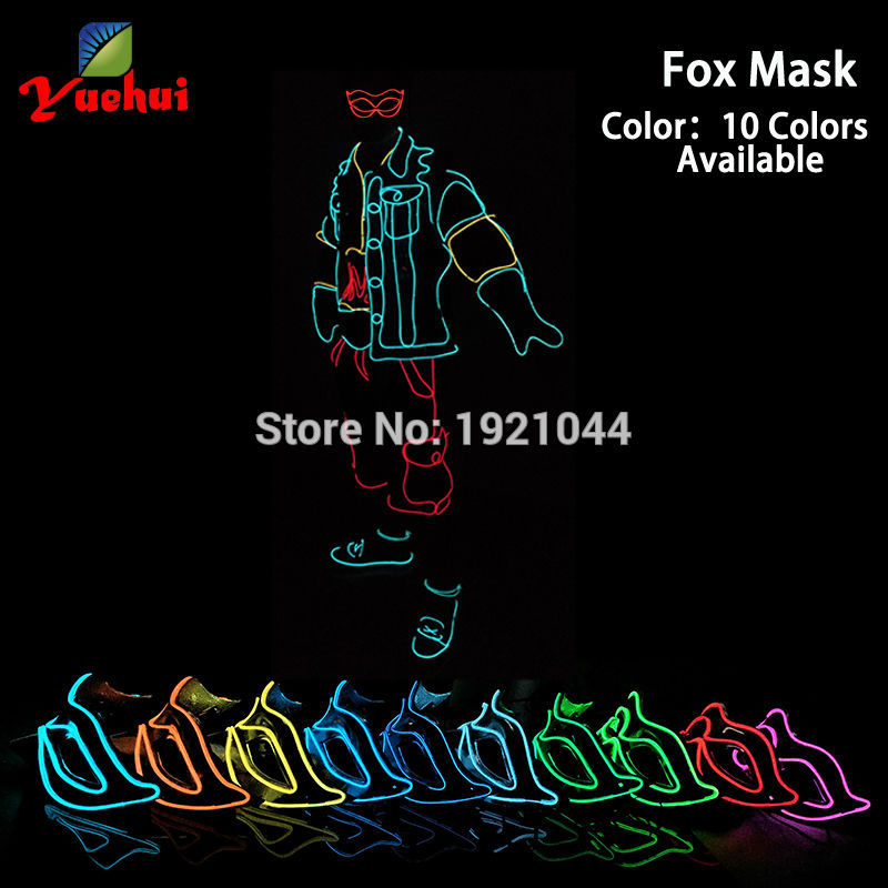 10 Color Select Two types of Fox Mask Half Face Shining Flash LED Neon Light DC-3V Batteries Powered For Trendy Party Decoration
