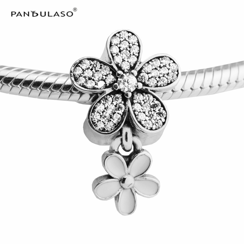 Pandulaso White Enamel & Clear Stone Dasiy Crystal Beads for Women Jewelry Making Fit DIY Charms Bracelets Spring Silver JewelryPandulaso White Enamel & Clear Stone Dasiy Crystal Beads for Women Jewelry Making Fit DIY Charms Bracelets Spring Silver Jewelry