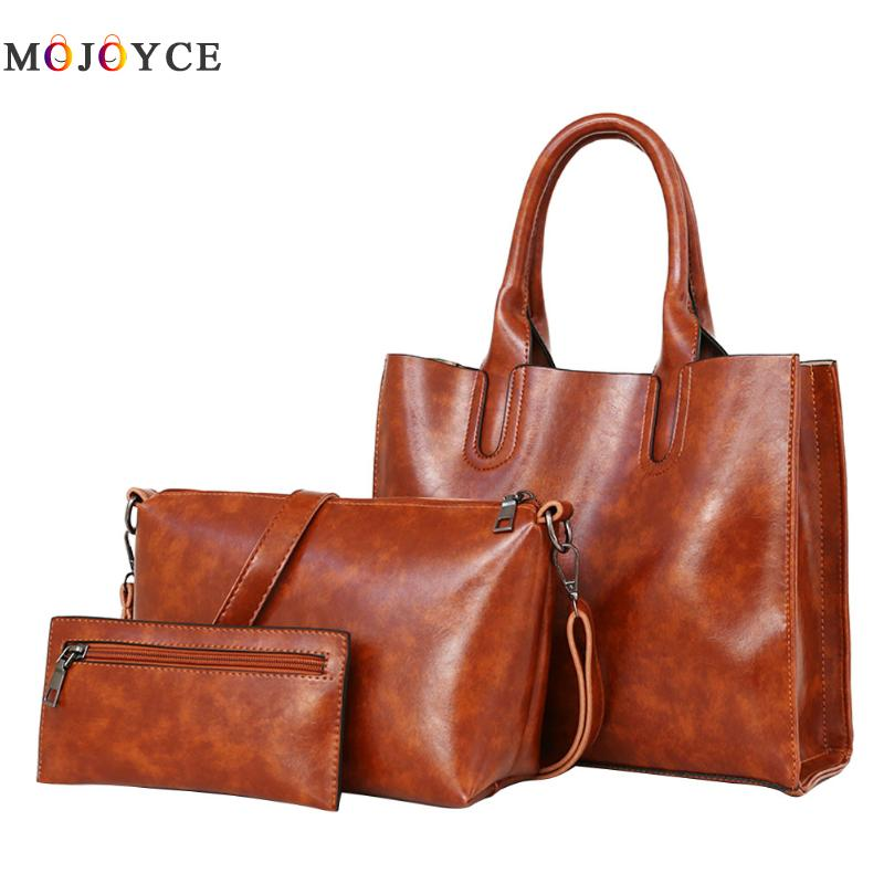 3 Pcs/Set Oil Wax Leather Women Bag Leather Handbags Casual Female Bags Trunk Tote Spanish Brand Shoulder Bag miwind 2017 new women bag cow oil wax leather handbags letter v shoulder bags female luxury casual totes simple fashion portable