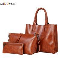 3 Pcs/Set Oil Wax Leather Women Bag Leather Handbags Female Trunk Spanish Brand Top Handle Bag