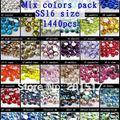 Colores mezclados de Cristal del Hotfix Rhinestones 1440 unids ss16 3.8-4.0mm Color Clasificado Loose Strass Diamantes DIY 3D Decoración del Arte del clavo