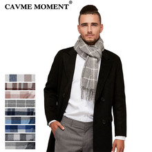 CAVME Pure Wool Plaid Striped Scarf Mens Business Style Long Basic Scarves Unisex Femme Homme Winter Wrap CUSTOM NAME 30*180cm