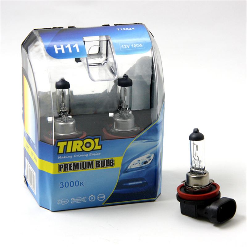 Encell H11 Car Bulb Lamp 2pcs H11 12V <font><b>100W</b></font> <font><b>Headlight</b></font> Bulb 3000K White Light Source Car Styling Accessories Replacement Part TS15 image