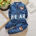 2017 nova roupa do bebê do bebê longo-esportes de mangas compridas denim shirt + calça jeans dois conjuntos de algodão do bebê roupa nova terno