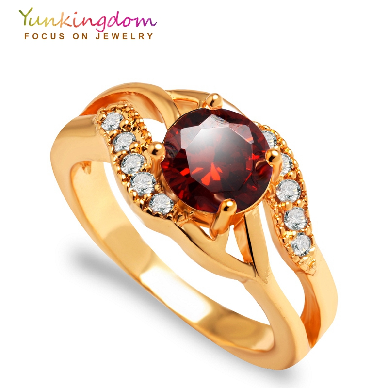 Yunkingdom elegant weeding rings for women top quality AAA cubic zirconia crystal jewelry gold color rings