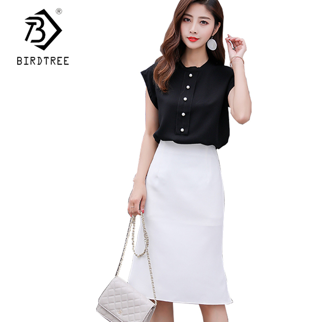 2018 Summer 2 Piece Sets Women Skirt Suits Slim Sleeveless Single Breasted Top irregular Skirt Office Lady Elegant Suits S85310X