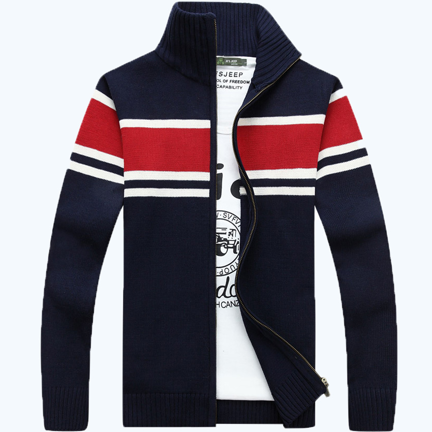 Humorous Afs Jeep Brand Sweatercoat Men Stand Collar Long Sleeve Warm Knitted Wear Autumn Cardigan Men M-xxxl Embroidery Mens Sweaters Easy And Simple To Handle Cardigans Men's Clothing