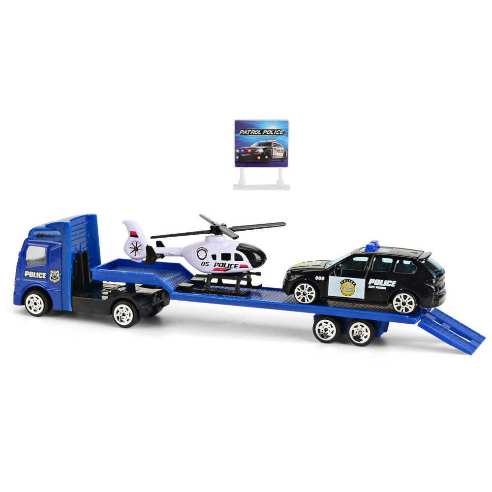 1: 64 Trailer Flatbed Truk Mainan Alloy Trailer Teknik Roller Excavator Loader Truk Model Mobil Mainan untuk Anak Laki-laki Anak Hadiah