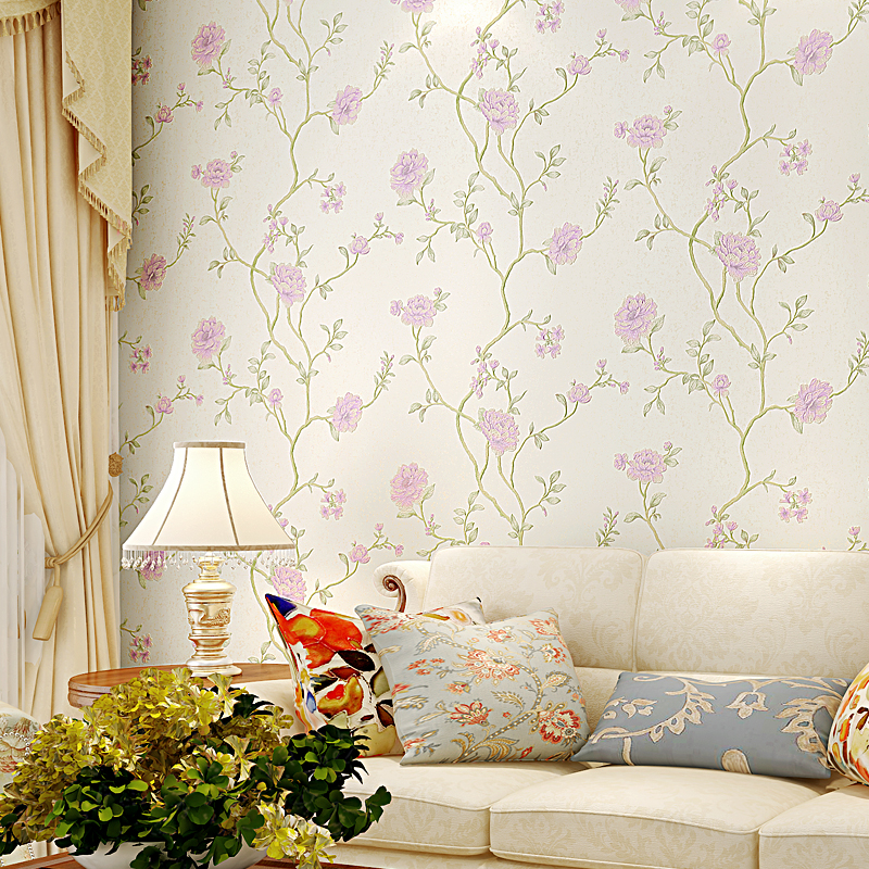 Modern Floral Wallpaper Roll Non Woven Wallpaper for Walls 3 d Korean Style Bedroom Embossed Wallpapers Flower papel de parede modern pastoral 3d floral wallpaper non woven flocking wall paper roll wedding bedroom wallpapers flower for walls home decal
