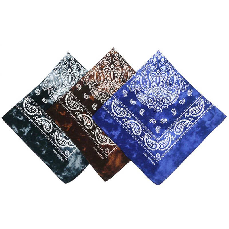 Japanese Vintage Washed Tie-Dye Paisley Floral Unisex Cotton Pocket Square Scarf Headband Bandana Hip-Hop Wristband Neck