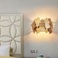SGROW золото Нержавеющаясталь огни современного искусства и дизайна Lampara квадратный деформируемого бра для Спальня прикроватные светильник