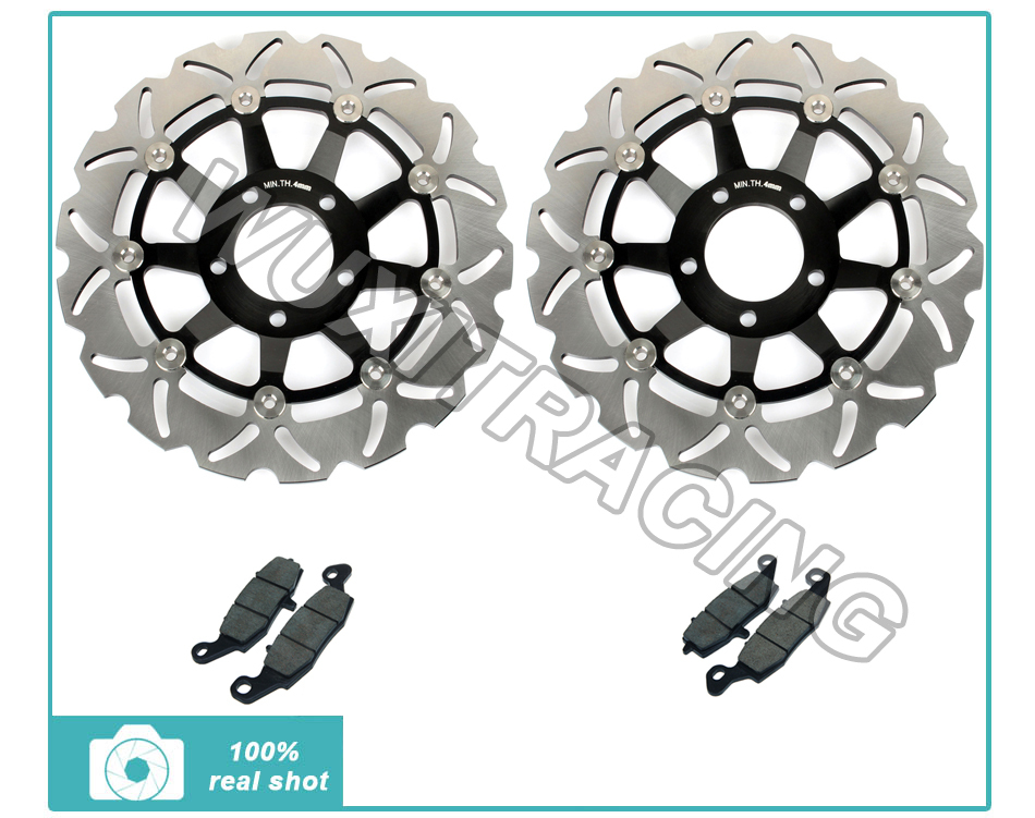 Black Full Set  Front Brake Disc Rotor + Brake Pads for Suzuki GSF 600 S / Bandit 00-04 SV S 650 GSX 750 F 98-02