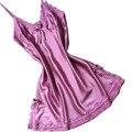 Señora camisones tirantes ligh púrpura ropa de dormir de encaje para las mujeres de alta calidad de seda Mini vestido de camisa de dormir atractiva caliente camisas de dormir
