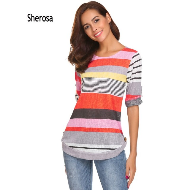 94dcd6308a0 Sherosa Women Casual Color Block Striped 3/4 Sleeve T Shirts Unique Brown  Buttons Tunic Tops Tee Shirt Femme Poleras Mujer YSK