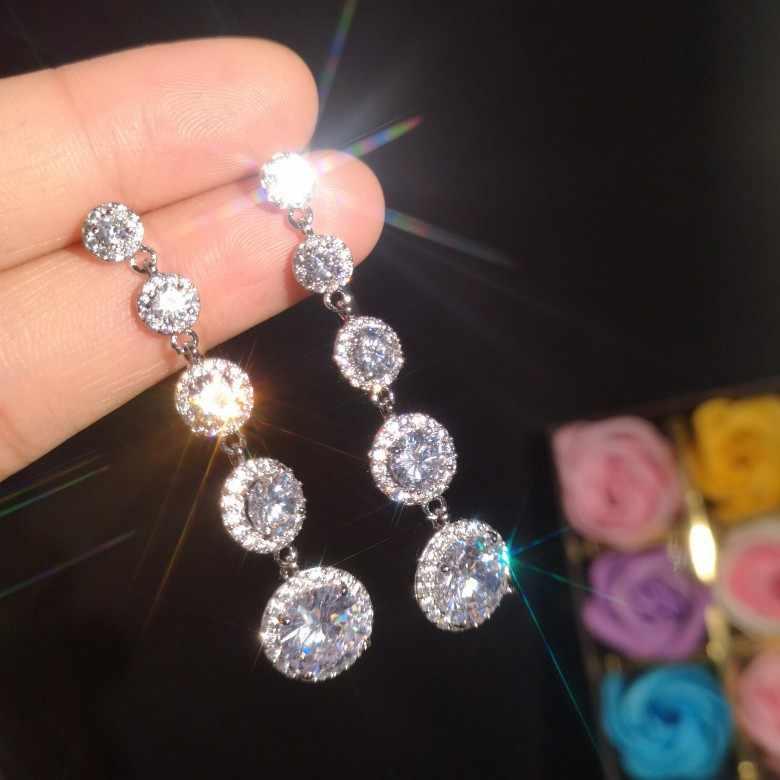 الأزياء الفاخرة الإناث الكريستال جولة انخفاض الأقراط 925 الاسترليني الفضة بوهو مجوهرات الزفاف طويلة الزركون حجر استرخى أقراط