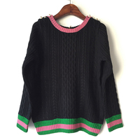 2017 O Neck Pullover Contrasting Colors Peals Decorated Knitted Sweater Top