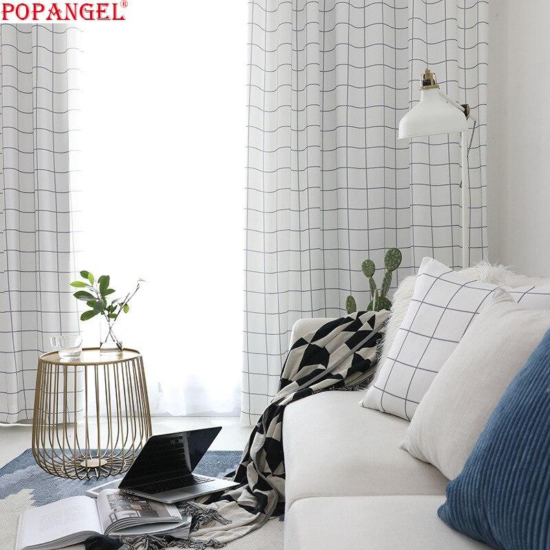 Popangel простая популярная Роскошная клетчатая набивная полузатеняющая термоизолированная оконная занавеска для гостиной s Заказная занавес