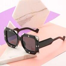 High Quality Square Sunglasses Woman Luxury Brand Design Retro Large Frame Rhinestone Decoration Fashion Black White