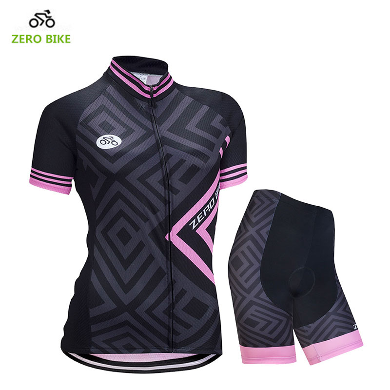 ZEROBIKE 2017 Outdoor Sports MTB Bike Jersey 4D Padded Shorts Women's Breathable Polyester Shirt Top Cycling Clothing Ciclismo