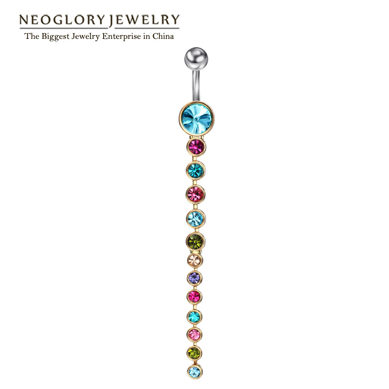 Neoglory Rhinestone Piercing Belly Button Gyűrűk nőknek Test Piercing Tragus Nombril Ombligo Navel Fashion Jewelry 2017 Brand