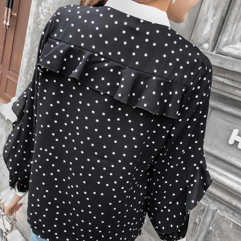Женские рубашки шифоновая блуза Плюс Размер Топы офисные женские рубашки в горошек с бантом для женщин модные корейские черные топы с длинными рукавами женские