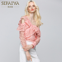 SIPAIYA One Shoulder Blouse Womens Tops 2017 Summer Casual Style Hollow Out Lace Blouse Summer Blusas