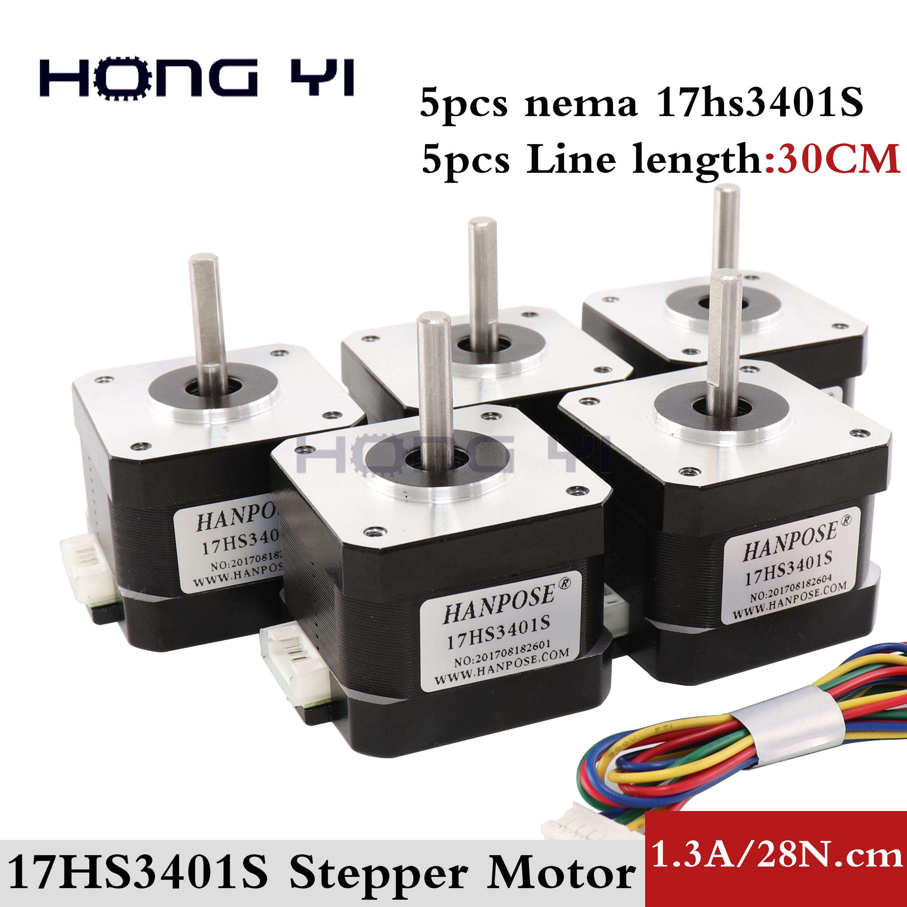 5pcs 17HS3401S Free shipping and Quality 4 lead Nema17 Stepper Motor 42 motor 42BYGH 1 3A